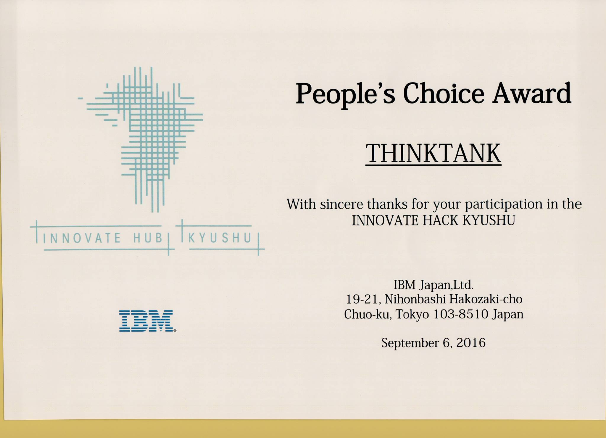 People's Choice Award at Japan Kyushu hackathon .