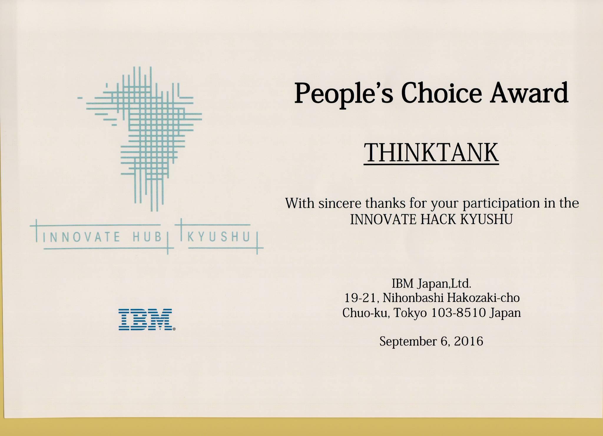 People's Choice Award at Japan Kyushu hackathon .